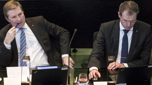 Marcel Schwerzmann und Reto Wyss tauschen ihre Departemente.