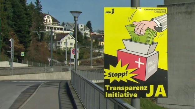 Ein gelbes Plakat, auf dem eine Hand Geld in eine Wahlurne legt.