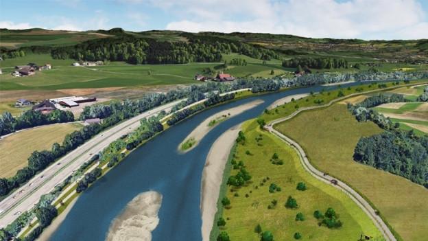 Die Reuss soll mehr Platz erhalten um Hochwasser besser absorbieren zu können.