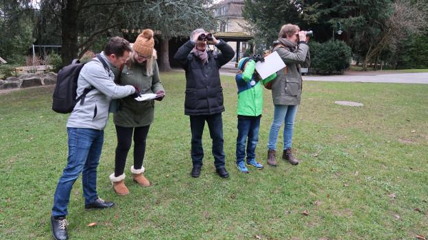 Eine Gruppe interessierter Vogelbeobachter im Bellpark in Kriens.