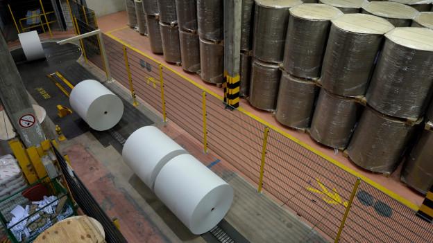 Grosse Papierrollen in einer Fabrikhalle