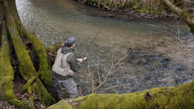 Ein Fischer an einem Bach.