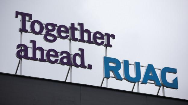 Firmenschild der Ruag AG.