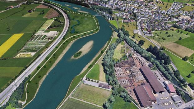 Eine Visualisierung des Projekts mit breiterem Flusslauf.