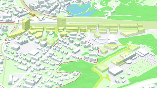Visualisierung der Überbauung beim Bahnhof Arth-Goldau
