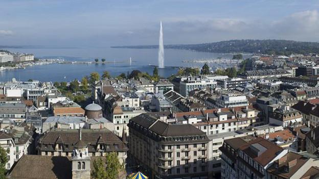 Der Blick auf die Stadt Genf.