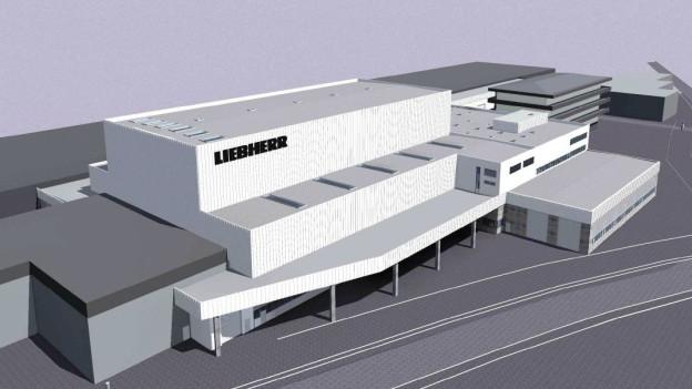 Ein Modell des Neubaus, den Liebherr im freiburgischen Bulle plant