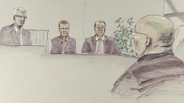 Zeichnung aus dem Gerichtssaal.