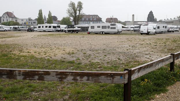 Die Fahrenden besetzen das Expo-Gelände in Nidau.
