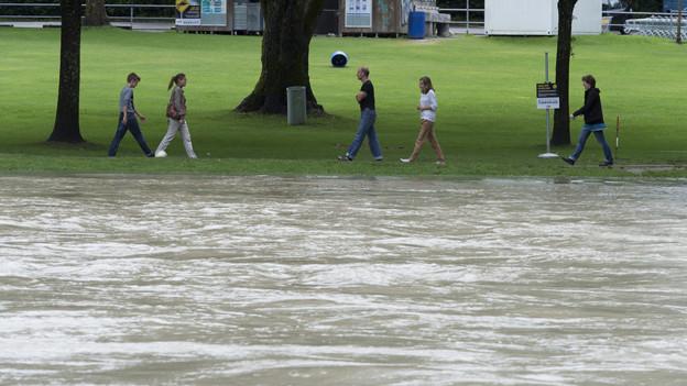 Die Aare bei Bern hat nach wie vor viel Wasser