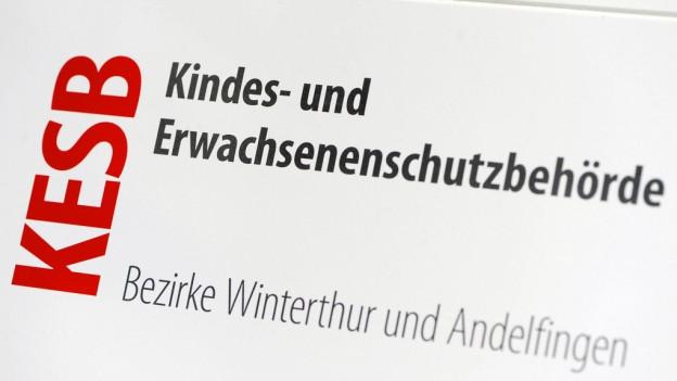 Das Schild der KESB Winterthur-Andelfingen.