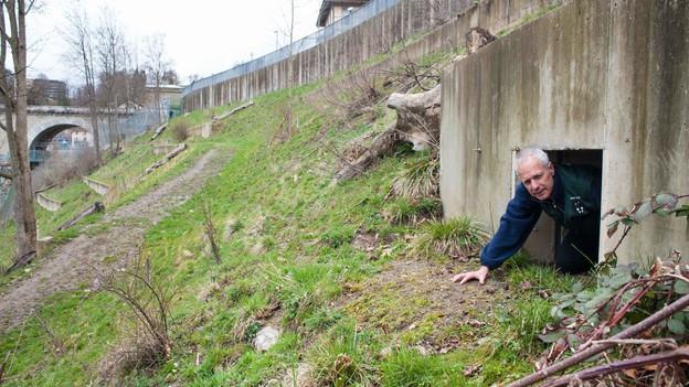 Bärenparkleiter Peter Schlup kriecht aus einer Bärenhöhle.