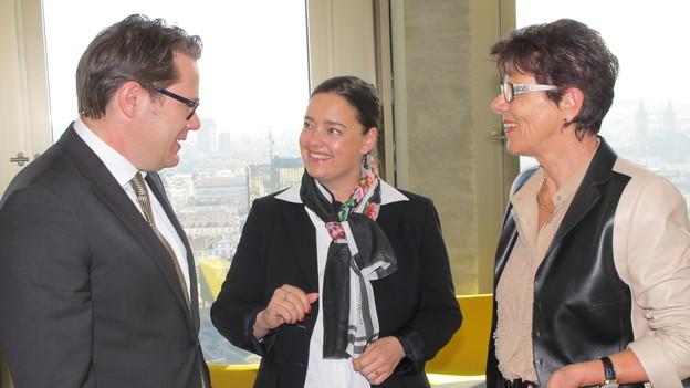 Die Regierungsräte Benedikt Würth (SG), Carmen Haag (TG) und Marianne Koller (AR) diskutieren über die Expo.