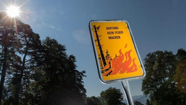Ein Schild, das auf die Waldbrandgefahr hinweist.