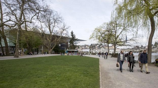 Das Inseli in Luzern mit KKL im Hintergrund. Hier soll das neue Theater gebaut werden.