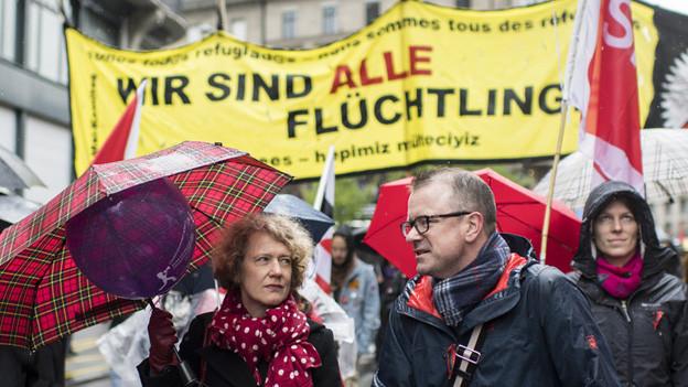 «Wir sind alle Flüchtlinge»: Zürichs Stadtpräsidentin Corinne Mauch an der diesjährigen 1.-Mai-Kundgebung.