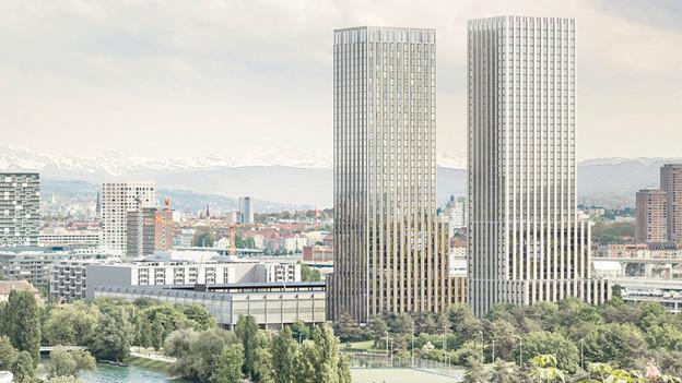 So soll das Gebiet beim Zürcher Hardturm einmal aussehen: Visualisierung des Siegerprojekts.