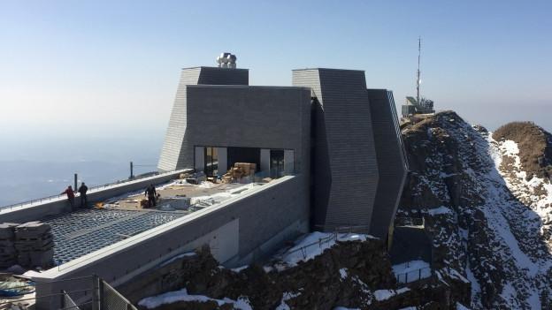 Fast fertig: Das neue Gipfelrestaurant vom Mario Botta.