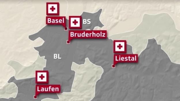Die vier Spitäler der beiden Basel sollen in eine Spitalgruppe kommen.