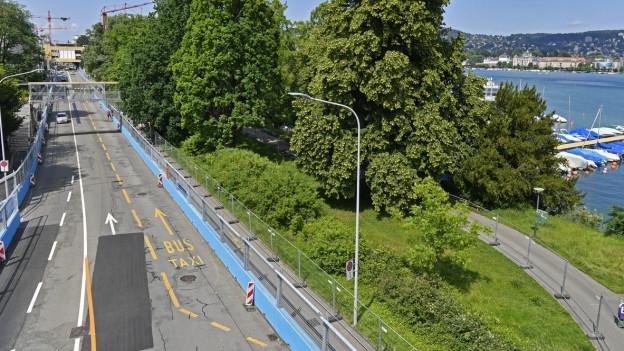 Start und Ziel der Formel E-Strecke in Zürich.