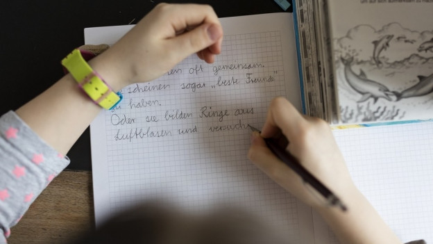 Ein Kind schreibt einen Text in ein Heft.