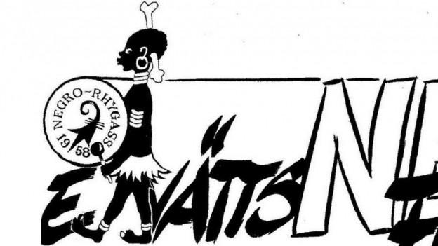 Ein Logo einer Guggenmusik, das einen schwarzen Mann zeigt.