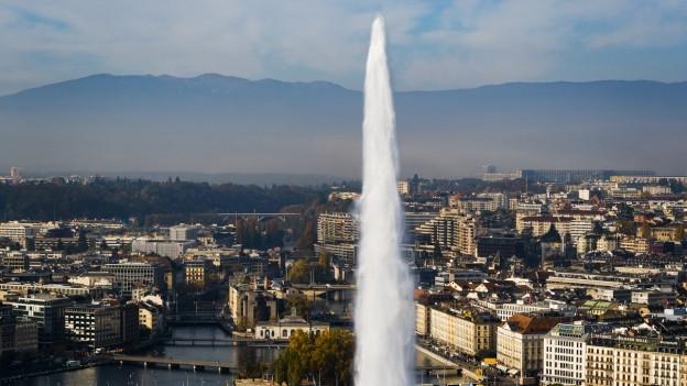 Die Stadt Genf in einer Luftaufnahme.
