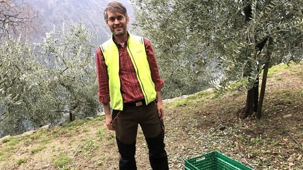 Der Tessiner Olivenbauer Massimo Pedrazzini.