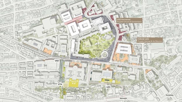 Ein Stadtplan von oben betrachtet.