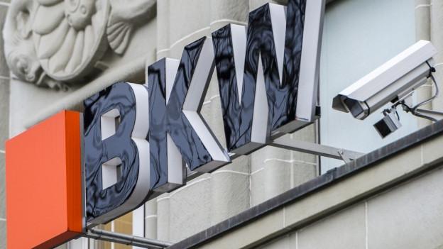 Das Logo der BKW am Hauptsitz in Bern.
