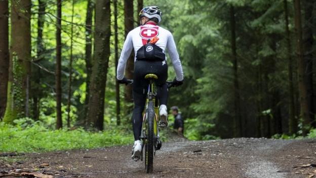 Ein Biker von hinten in einem Waldstück.