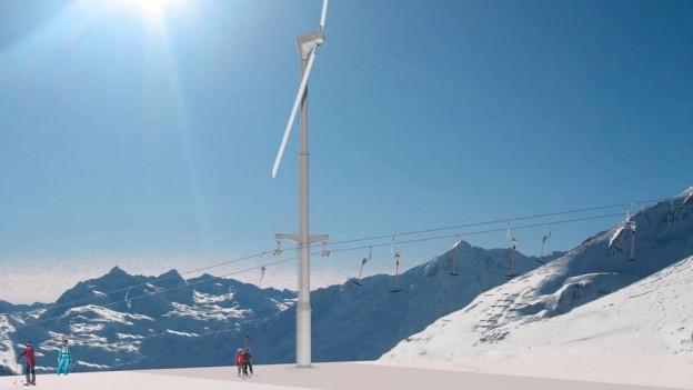 Auf den obersten drei Masten hätte die Windenergie gewonnen werden sollen