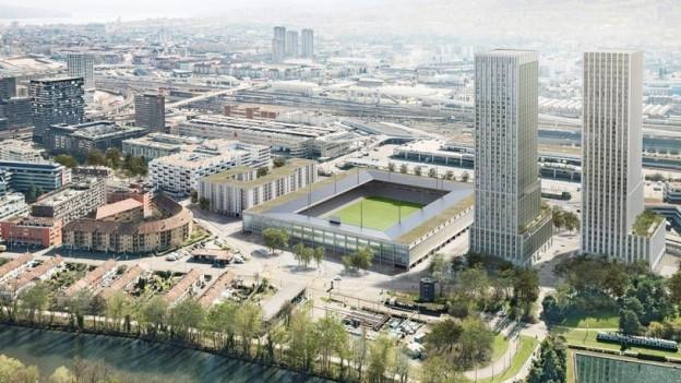 Visualisierung des geplanten Hardturmstadions in Zürich.