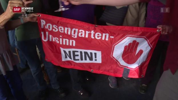 Ein Transparent zu einer Abstimmung im Kanton Zürich.
