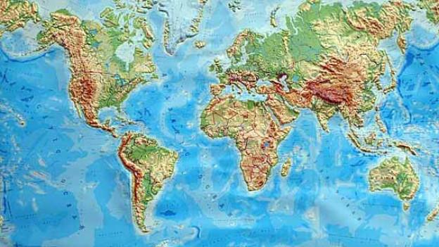 Foto einer dreidimensionalen Weltkarte.