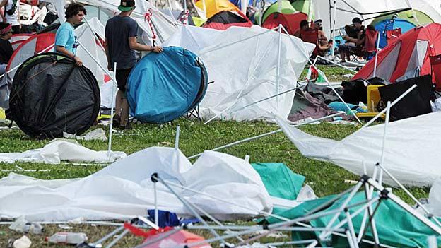 Ein heftiger Sturm zerstörte Zelte am Openair Frauenfeld 2012