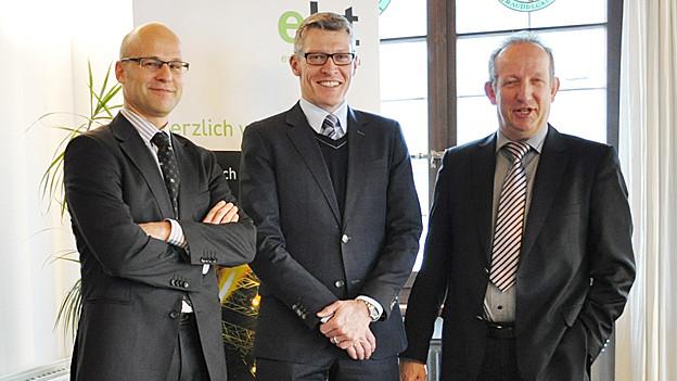 (v.l.n.r.) Andreas Balg, Stadtammann Arbon; Markus Schüpbach, CEO EKT Gruppe; Martin Salvisberg, Stadtammann Amriswil.