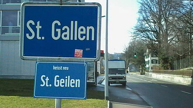 Aus St. Gallen wird St. Geilen – eine Aktion zur «Earth Hour», einer Umweltaktion des WWF.