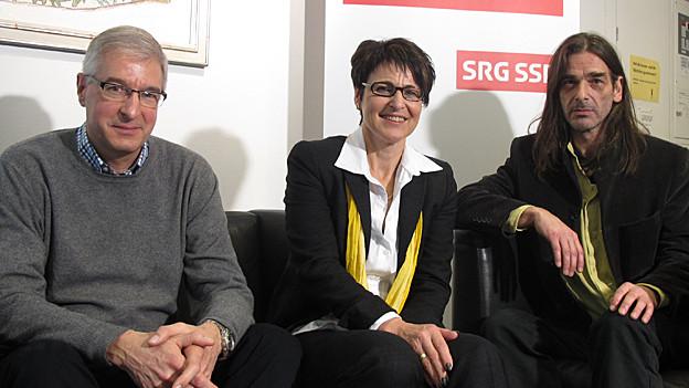 Die drei Regierungsrats-Kandidaten Paul Signer (FDP), Inge Schmid (SVP) und Samuel Büechi (Grüne).