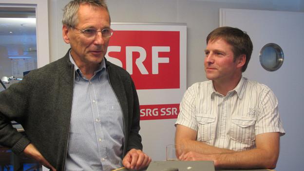 Roland Inauen und Josef Schmid im Studio (v.l.)