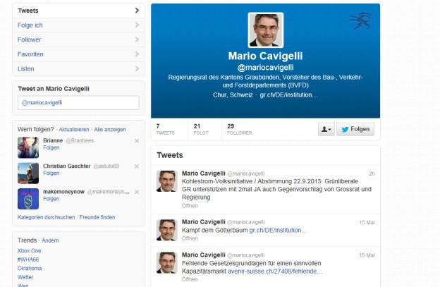 Twitter-Account von Regierungsrat Mario Cavigelli