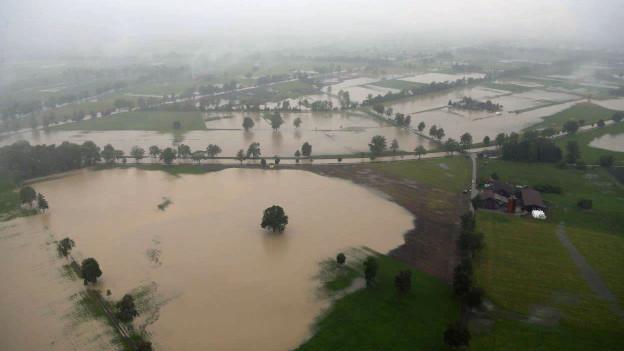 Das Rheintal wurde teilweise überschwemmt.