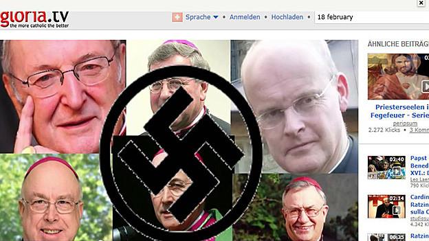 Das Portal «gloria.tv» versah Bilder von missliebigen Geistlichen mit Hakenkreuzen