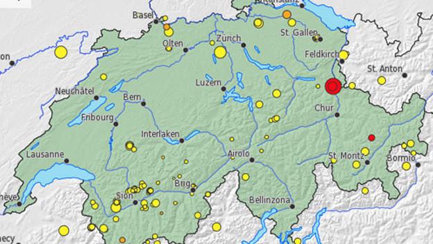 Die Karte des Schweizerischen Erdbebendienstes an der ETH Zürich zeigt das Epizentrum.