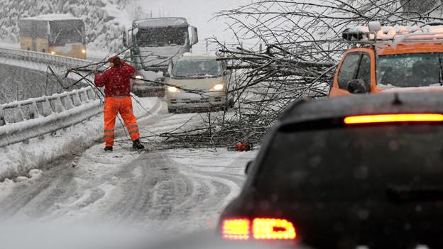 Auf der Kantonsstrasse bei Tavanasa (GR) brauchten die Autofahrer Geduld.