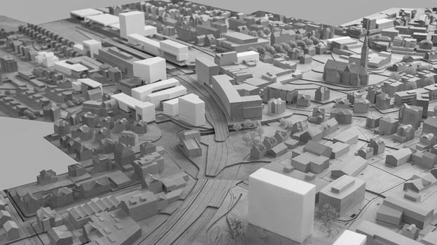 Eine Darstellung mit möglichen Hochhäusern.