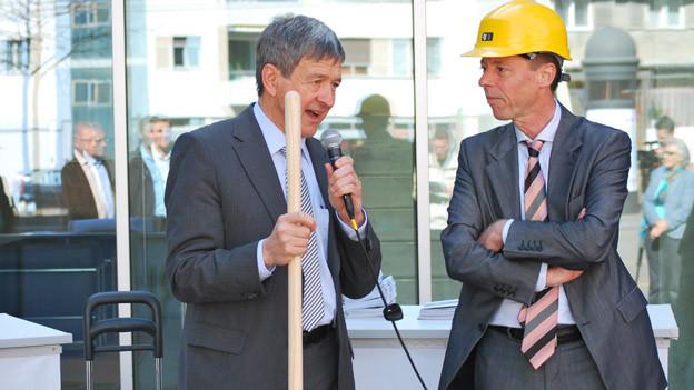 Regierungsrat Willy Haag und der Rapperswiler Städtpräsident Erich Zoller.
