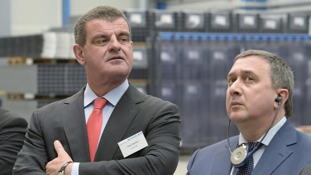 Peter Spuhler mit seinem Kunden aus Russland Alexey Sorokin
