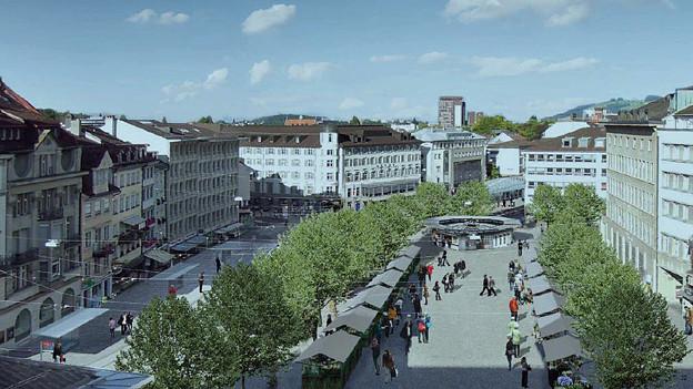 So könnt der St. Galler Marktplatz bald aussehen.
