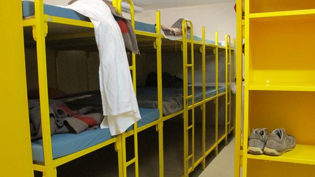 Schlafsaal im Asylzentrum Wildhaus
